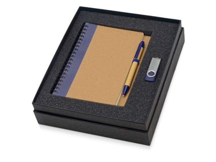 Набор Essentials: флешка 8 Гб и блокнот А5 с ручкой, цвет бежевый с синим