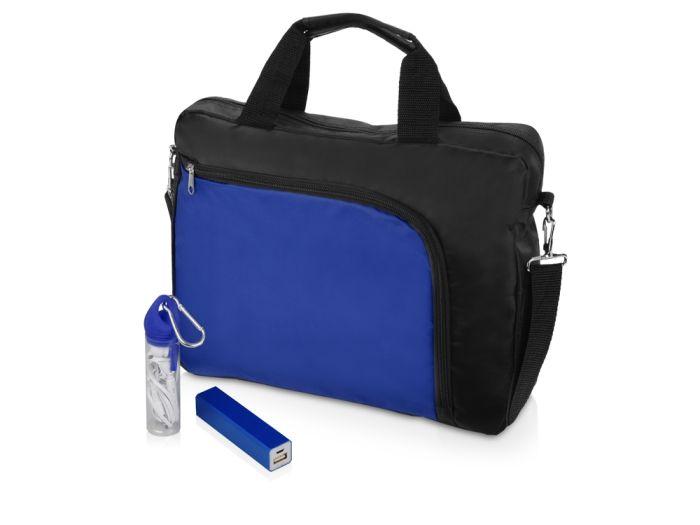 """Подарочный набор """"Load"""": сумка для ноутбука, наушники и зарядное устройство (2200 mAh), цвет чёрный с синим"""