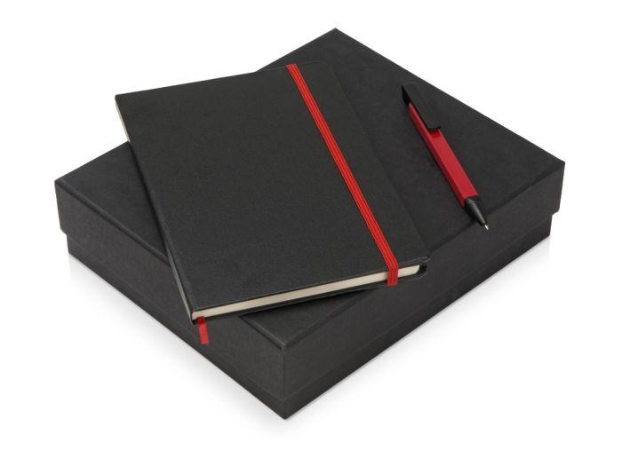 """Подарочный набор """"Jacque"""" с ручкой-подставкой и блокнотом А5, цвет чёрный с красным"""