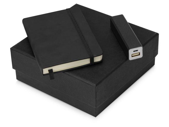 Подарочный набор To go с блокнотом А6 и зарядным устройством, цвет чёрный