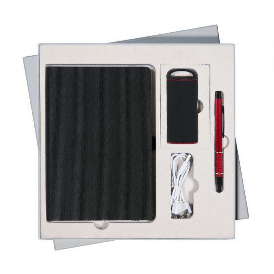 Подарочный набор Portobello Rain: ежедневник недатированный A5, ручка и Power Bank, чёрный