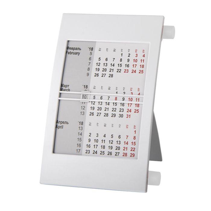 Календарь настольный на 2 года, цвет корпуса - белый, цвет роликов - белый
