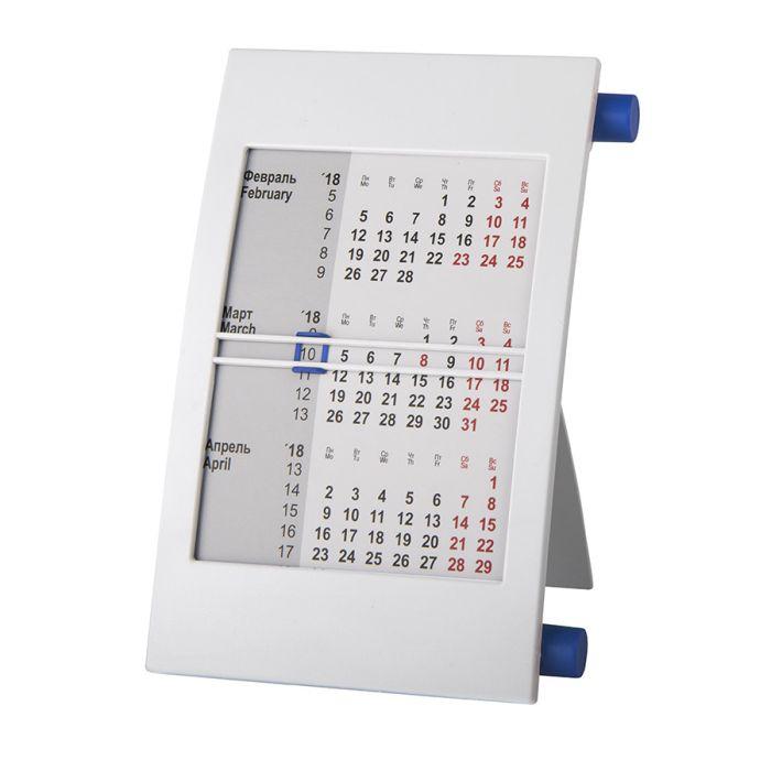 Календарь настольный на 2 года, цвет корпуса - белый, цвет роликов - синий