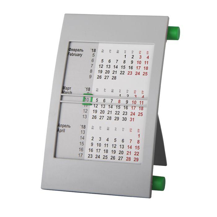 Календарь настольный на 2 года, цвет корпуса - серый, цвет роликов - зелёный
