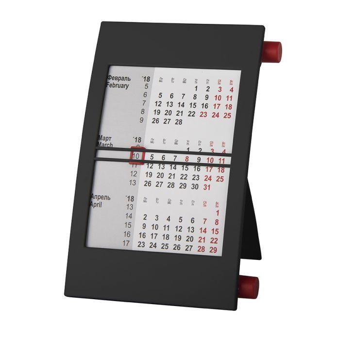 Календарь настольный на 2 года, цвет корпуса - чёрный, цвет роликов - красный