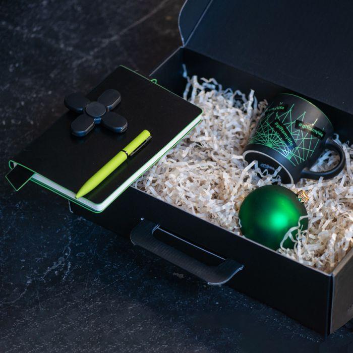 Набор ELEGANTBLOOM: блокнот, ручка, кружка, usb-разветвитель, шар новогодний, светло-зеленый