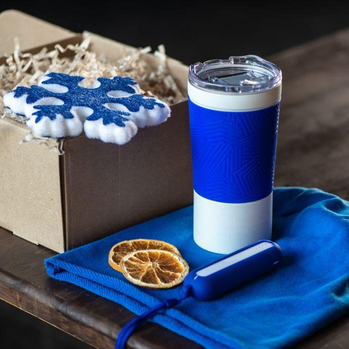 Набор ACTIONLIFE: термокружка, шапка, украшение, зарядное устройство, коробка, синий