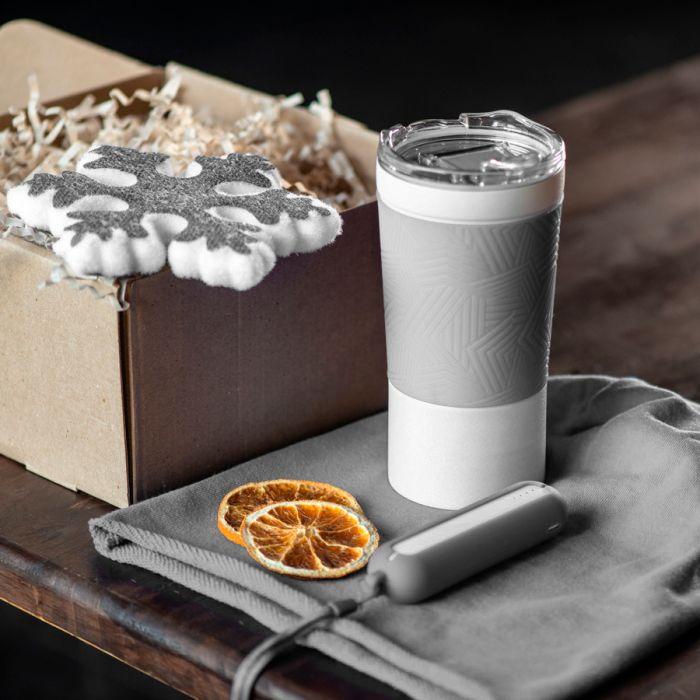 Набор ACTIONLIFE: термокружка, шапка, украшение, зарядное устройство, коробка, серый