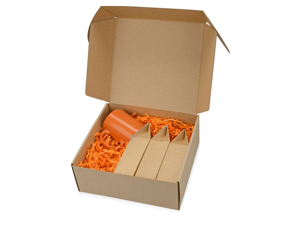 """Подарочный набор """"Tea chest"""" с тремя видами чая, оранжевый"""