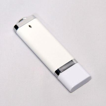 USB-Flash накопитель (флешка) из пластика классической прямоугольной формы, модель 002, объем памяти  4 Gb, цвет белый