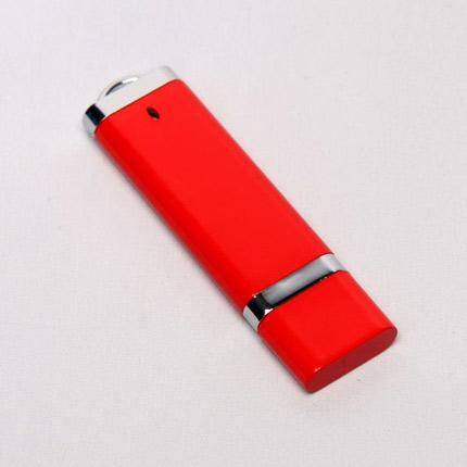 USB-Flash накопитель (флешка) из пластика классической прямоугольной формы, модель 002, объем памяти  8 Gb, цвет красный