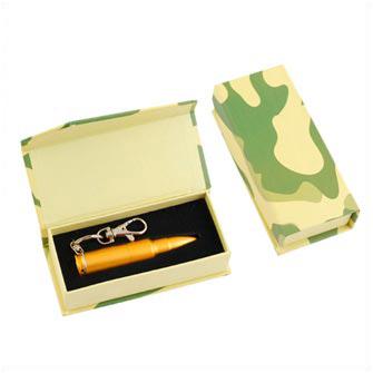 """Подарочная картонная коробка для USB флешки накопителя """"Патрон АК-47"""", с камуфляжной окраской"""