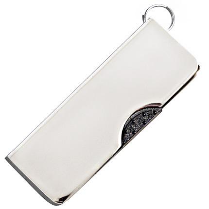 """USB-Flash накопитель - брелок (флешка) """"FLIP"""",  4 Gb, в металлическом корпусе с пластиковыми вставками, серебряный цвет"""