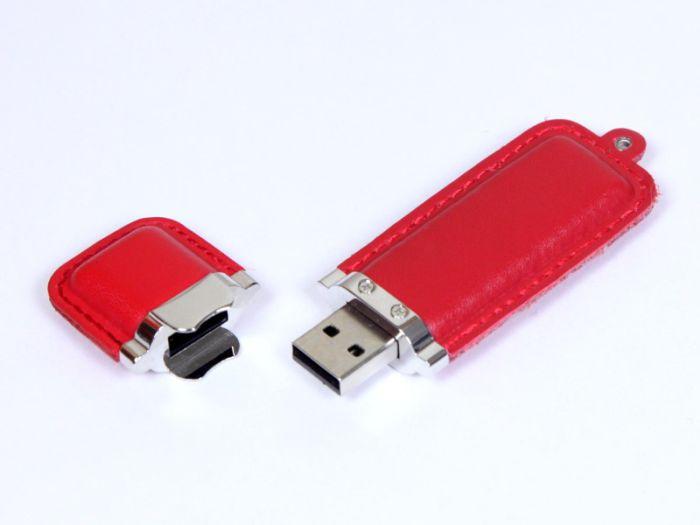 Флешка кожаная прямоугольная 4 Гб. Красный, USB2.0
