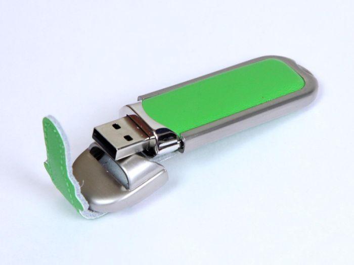 Флешка с кожаным чехлом 4 Гб.Зеленый, USB2.0