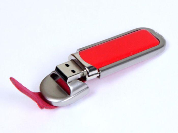 Флешка с кожаным чехлом 4 Гб.Красный, USB2.0