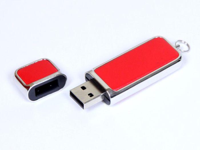 Кожаная флешка 4 Гб. Красный, USB2.0