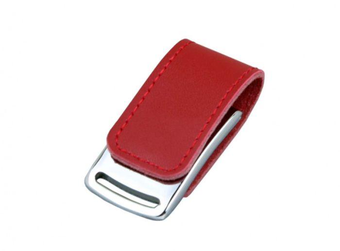 Флешка с кожаным корпусом эргономичный дизайн  4 Гб.Красный, USB2.0