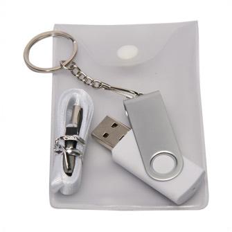 USB-Flash накопитель - брелок (флешка) в металлическом корпусе с пластиковыми вставками, модель 030, объем памяти  8 Gb, цвет белый