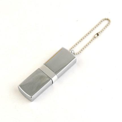 """USB-Flash накопитель (флешка) """"GLOSS"""" на цепочке, с металлическим корпусом и цветной полосой по середине,  8 Gb, белый"""