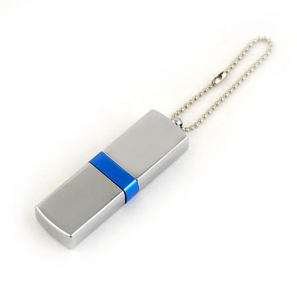 """USB-Flash накопитель (флешка) """"GLOSS"""" на цепочке, с металлическим корпусом и цветной полосой по середине, 16 Gb, синий"""