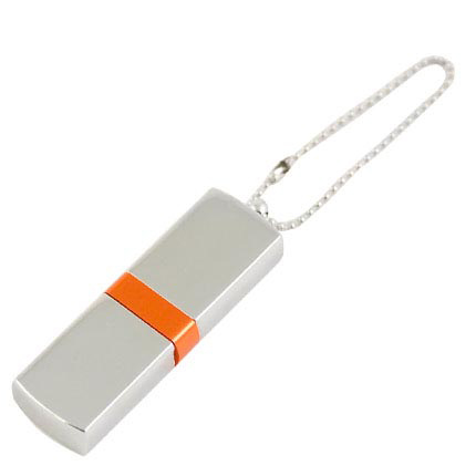 """USB-Flash накопитель (флешка) """"GLOSS"""" на цепочке, с металлическим корпусом и цветной полосой по середине, 16 Gb, оранжевый"""