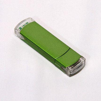 USB-Flash накопитель (флешка) из алюминия с прозрачными пластиковыми вставками, модель 014, объем памяти 16 Gb, цвет зеленый