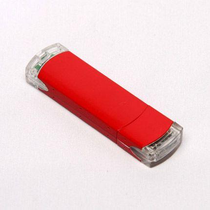 USB-Flash накопитель (флешка) из алюминия с прозрачными пластиковыми вставками, модель 014, объем памяти 16 Gb, цвет красный