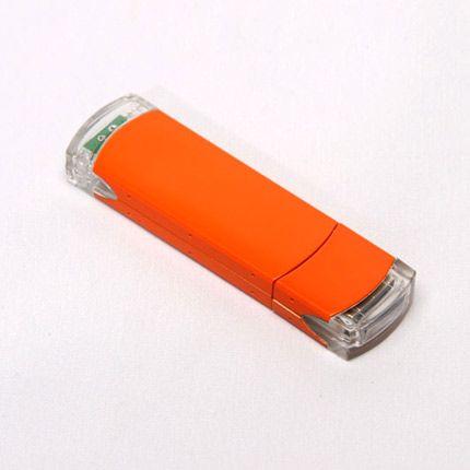 USB-Flash накопитель (флешка) из алюминия с прозрачными пластиковыми вставками, модель 014, объем памяти 16 Gb, цвет оранжевый