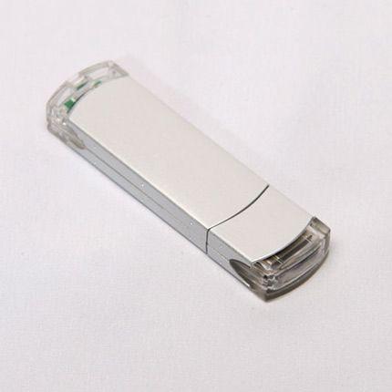 USB-Flash накопитель (флешка) из алюминия с прозрачными пластиковыми вставками, модель 014, объем памяти 16 Gb, цвет серебристый