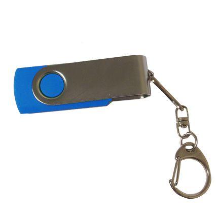 USB-Flash накопитель - брелок (флешка) в металлическом корпусе с пластиковыми вставками, модель 030, объем памяти 16 Gb, цвет синий