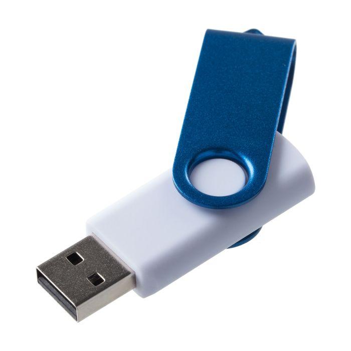Флешка Twist Color 16 Гб, с покрытием SOFT TOUCH, белая с синим