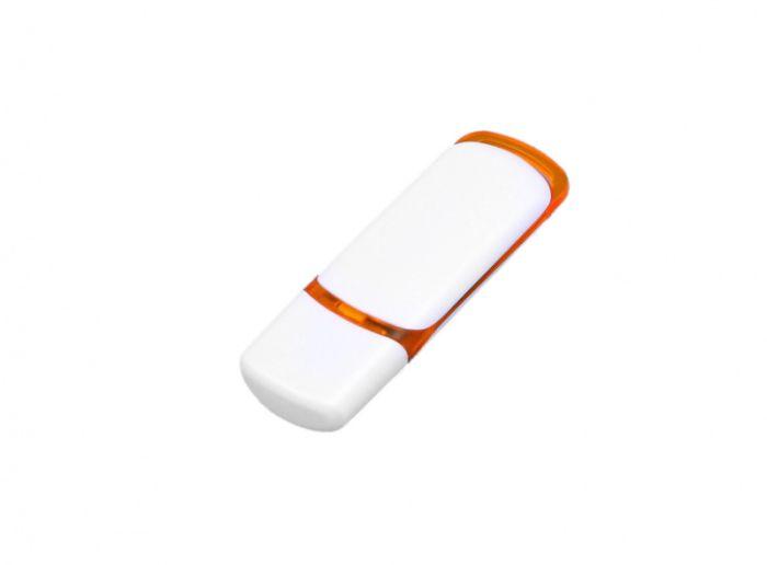 USB-Flash накопитель (флешка) промо прямоугольной классической формы, модель 003, объем памяти 16 Gb, цвет белый с оранжевыми вставками
