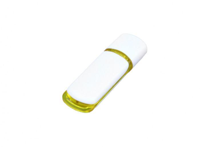 USB-Flash накопитель (флешка) промо прямоугольной классической формы, модель 003, объем памяти 16 Gb, цвет белый с жёлтыми вставками