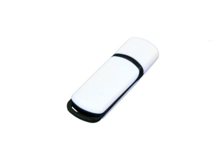USB-Flash накопитель (флешка) промо прямоугольной классической формы, модель 003, объем памяти 16 Gb, цвет белый с чёрными вставками