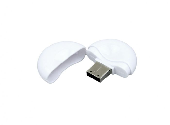 USB-Flash накопитель (флешка) круглой формы из пластика, модель 021-Round, объем памяти 16 Gb, цвет белый