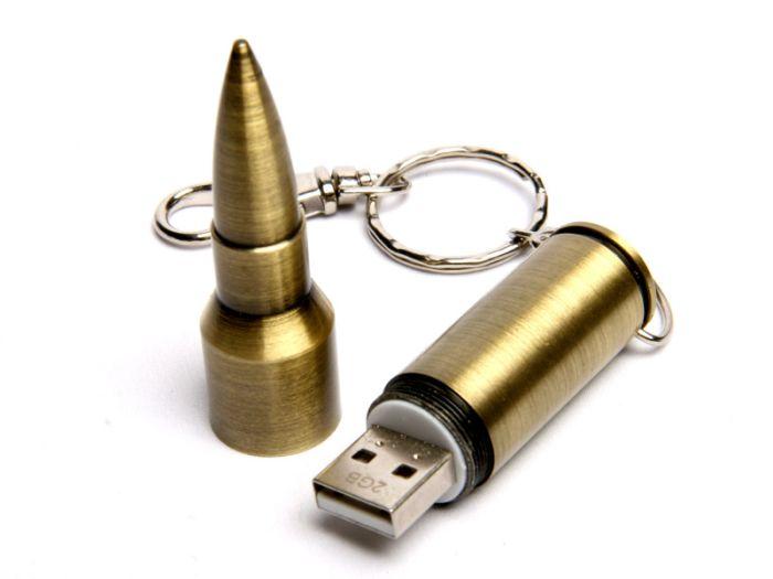 Флеш-накопитель в виде бронзовой пули от AK-47, 16 Гб.Бронзовый, USB2.0