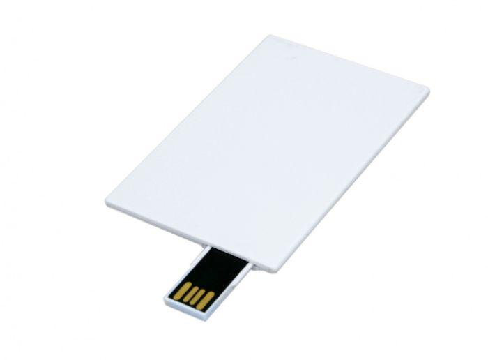 Флешка в ввиде карты, выдвижной механизм 16Гб, цвет Белый, USB2.0