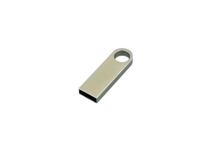 Флешка с мини чипом и круглым отверстием, 16Гб,  цвет Серебряный, USB2.0