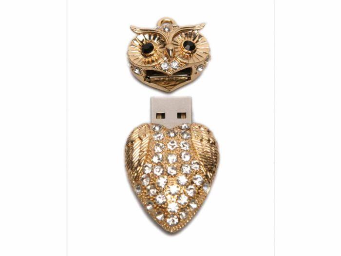 Флешка - сова, 16 Гб. Золотой, USB2.0