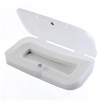 Подарочная пластиковая коробка для USB-Flash накопителя, прозрачная, с белым ложементом под флешку размером 65х19 мм