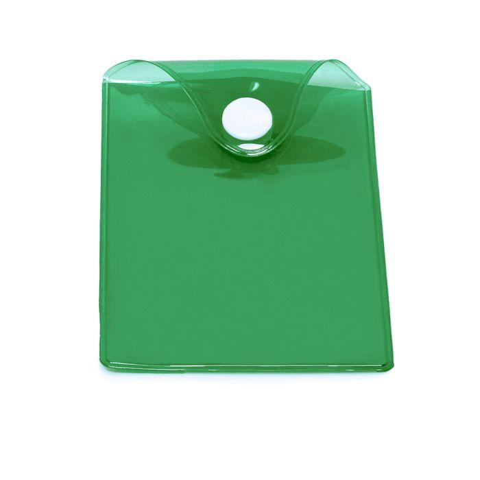 Карман пластиковый прозрачный с кнопкой U-PK003, зелёный