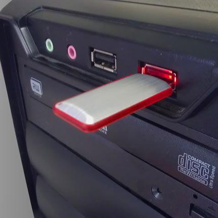 """USB-Flash накопитель """"Stripe"""" в металлическом корпусе со светящейся пластиковой вставкой на боковой стороне, 32 Gb, красный"""