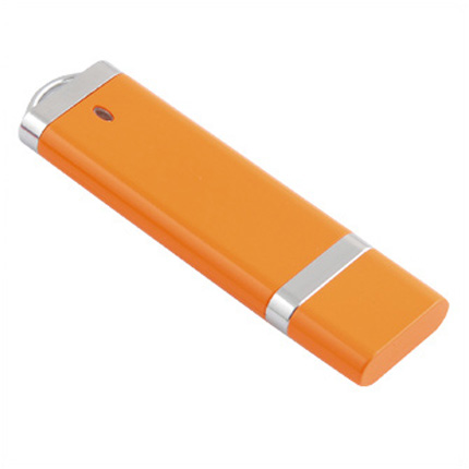 USB-Flash накопитель (флешка) из пластика классической прямоугольной формы, модель 002, объем памяти 32 Gb, цвет оранжевый