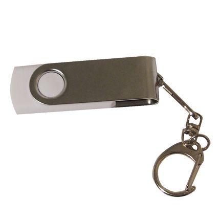 USB-Flash накопитель - брелок (флешка) в металлическом корпусе с пластиковыми вставками, модель 030, объем памяти 32 Gb, цвет белый
