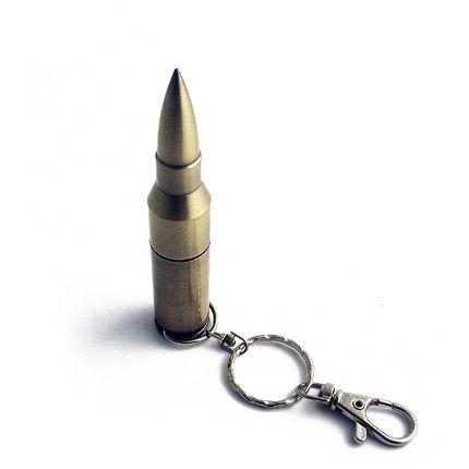 USB-Flash накопитель - брелок (флешка) в виде патрона от AK-47, модель Bullet1, объем памяти 32 Gb