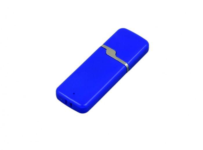 USB-Flash накопитель (флешка) промо прямоугольной формы c оригинальным колпачком, модель 004, объем памяти 32 Gb, цвет синий