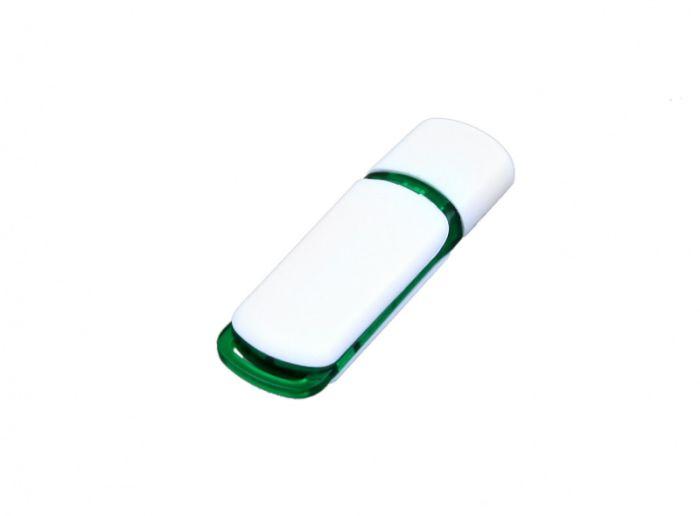 USB-Flash накопитель (флешка) промо прямоугольной классической формы, модель 003, объем памяти 32 Gb, цвет белый с зелёными вставками