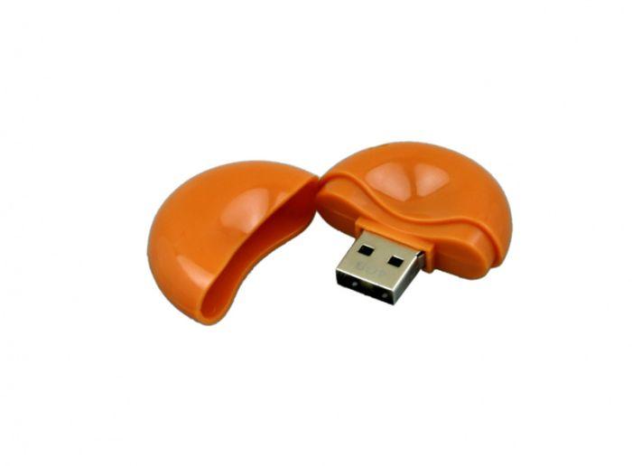 USB-Flash накопитель (флешка) круглой формы из пластика, модель 021-Round, объем памяти 32 Gb, цвет оранжевый
