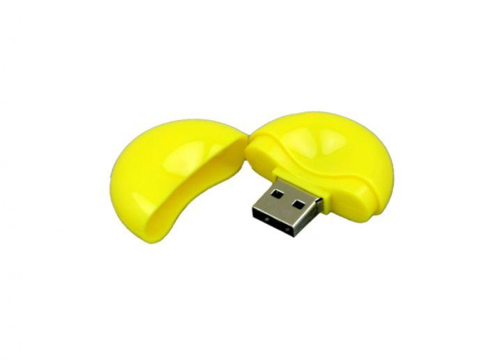 USB-Flash накопитель (флешка) круглой формы из пластика, модель 021-Round, объем памяти 32 Gb, цвет жёлтый